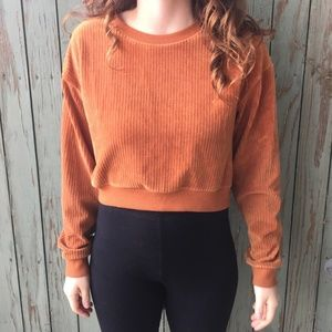 3 FOR $15 Forever 21 Textured Rust Cropped Sweater